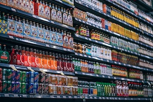 drink aisle at the grocery store